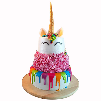 Happy Unicorn 3 Layered Cake: Baby Shower Cakes