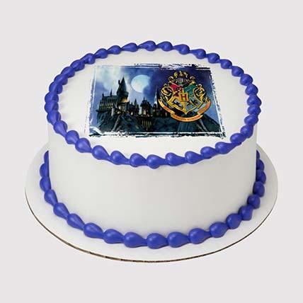 Hogwarts Logo Round Photo Cake: Harry Potter Themed Cakes