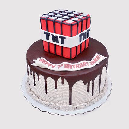Minecraft TNT Birthday Cake: Minecraft Cake