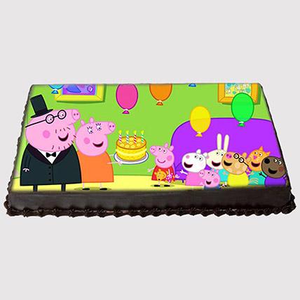 Peppa Pig Surprise Party Photo Cake: Peppa Pig Cake