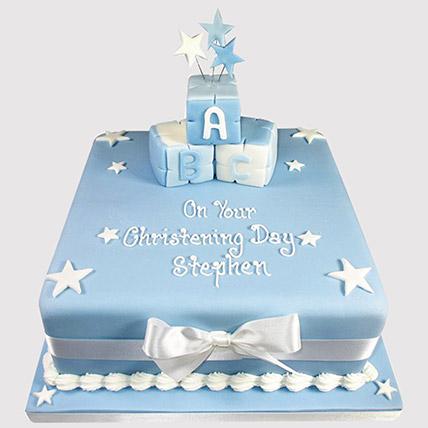Starry Blue Cake: Christening Cakes for Boys/Girls