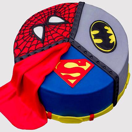 Superheroes Logo Fondant Cake: Avengers Theme Cake