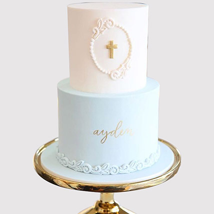 Two Layered Designer Christening Cake: Christening Cakes for Boys/Girls