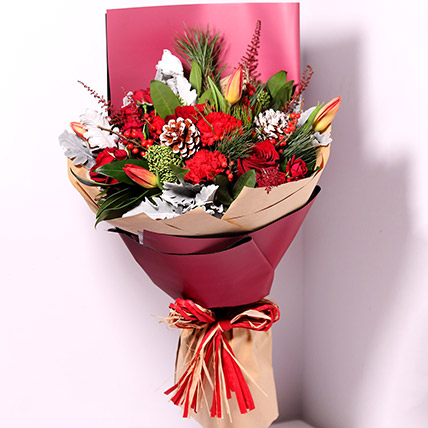 Tulips And Carnations Graceful Bouquet: New Year Gifts