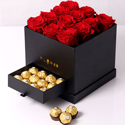 Forever Red Roses With Rochers In Box: Anniversary Flowers to Sharjah