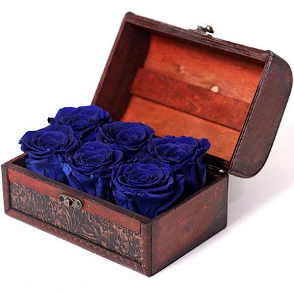 6 Blue Forever Roses In Treasure Box:
