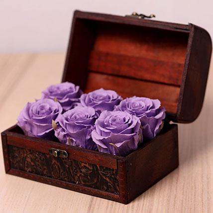 6 Purple Forever Roses in Treasure Box: Forever Rose Dubai