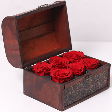 6 Red Forever Roses In Treasure Box: New Arrival Gifts