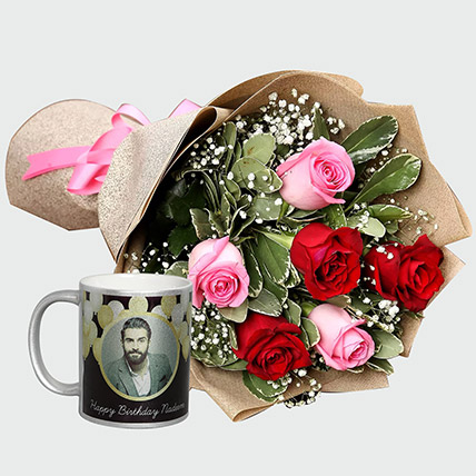Combo of Roses Bouquet and Personalised Mug: