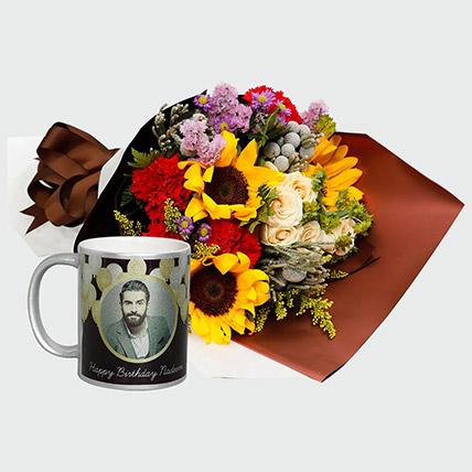 Flower Bouquet and Personalised Mug: Flowers N Personalised Gifts