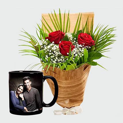 Personalised Mug and Red Roses: