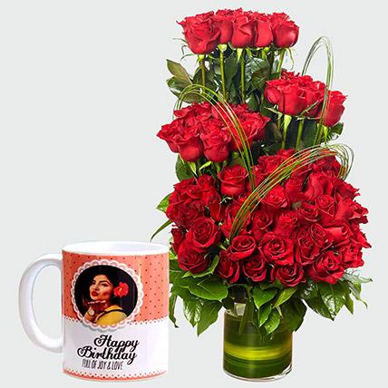 Red Roses Arrangement and Personalised Mug: Flowers N Personalised Gifts
