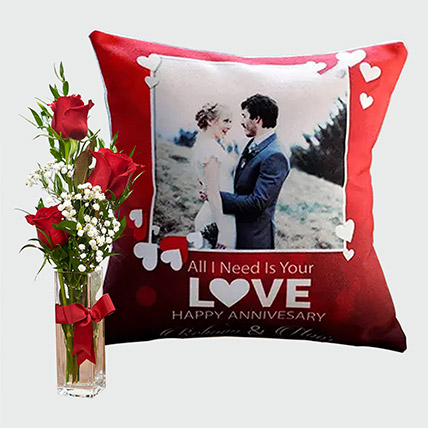 Special Personalised Cushion and Flowers: Flowers N Personalised Gifts