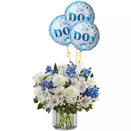 Blue and White Flower Arrangement With Balloons: Balloons