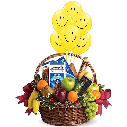 Fruitful Hamper With Smiley Balloons: Gifts Combos