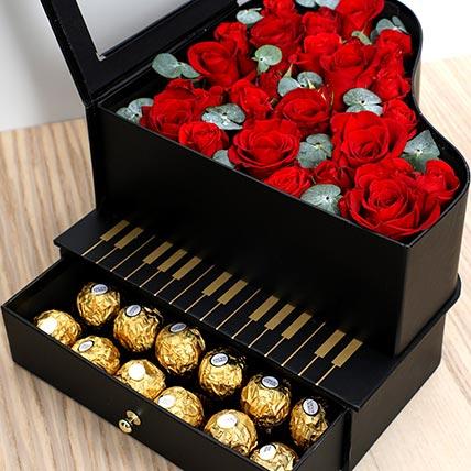 Roses and Chocolates Black Heart Box: