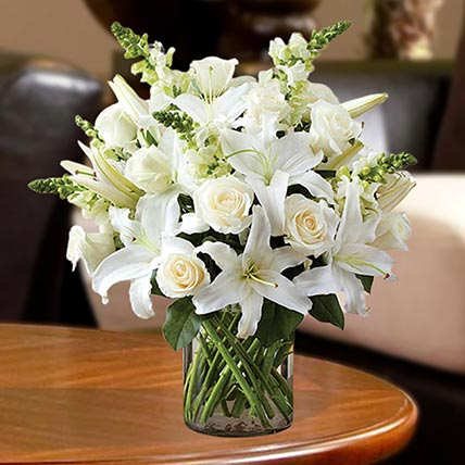 Love For White Flowers Vase: Sympathy & Funeral Flowers