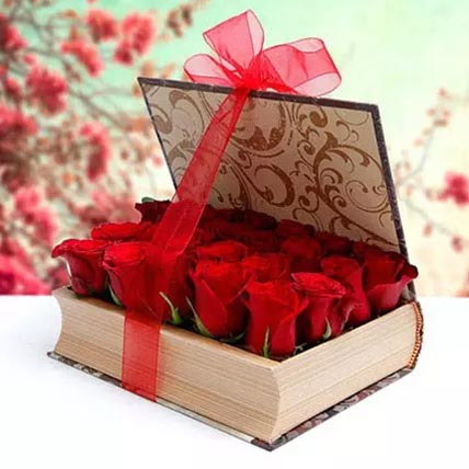 Book Shape Roses Arrangement: Valentines Flowers