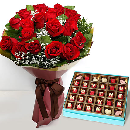 20 Red Roses Bouquet with Valentines Chocolates: Valentines Day Flowers for Him