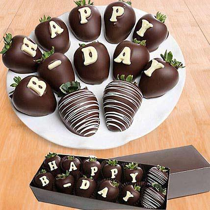 Birthday Belgian Dark Chocolate Strawberries: Send Chocolates in Sharjah