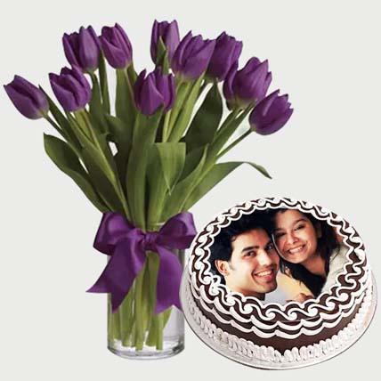 Flowers & Chocolate Cake Combo: Customized Cakes in Dubai
