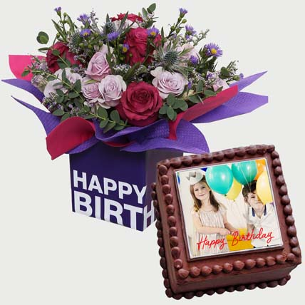 Birthday Flowers & Cake Combo: Birthday Photo Cakes