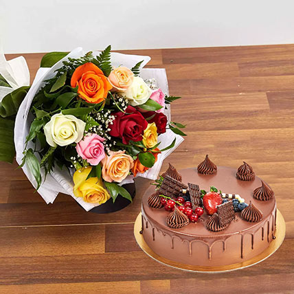 Dozen Multi Roses with Fudge Cake: Anniversary Flowers and Cakes