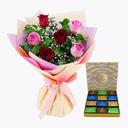 Pink and Red Roses With Godiva Chocolate Bar: Flowers and Chocolates