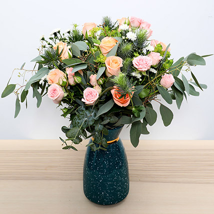 Pastel Coloured  Roses Vase: Flower Delivery In Dubai