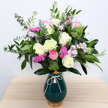 Roses N Carnations in Glass Vase: New Arrival Gifts