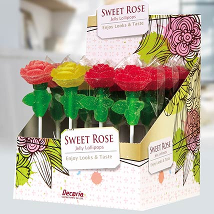Rose Shaped Jelly Lollipops 16 Pcs: Candies