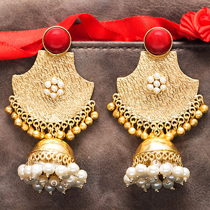 Gold Plated Red Stones Dome Jhumkas: Ladies Earrings