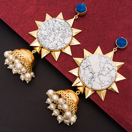 Gold Toned White Dome Jhumkas: