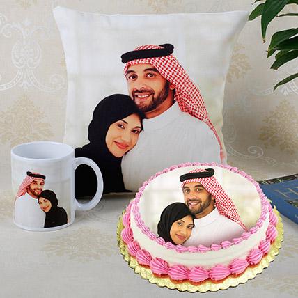 Combo of Personalised Cushion Mug And Cake: wedding anniversary cake with photo