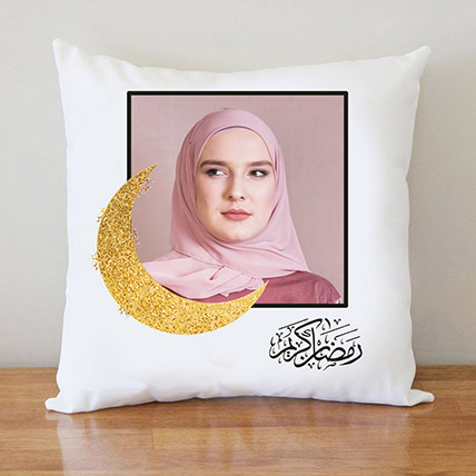 Ramadan Golden Moon Photo Cushion: Personalised Ramadan Gifts