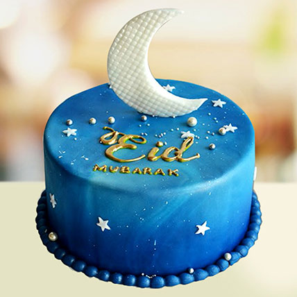 Crescent Design Eid Cake: Eid Mubarak Cake