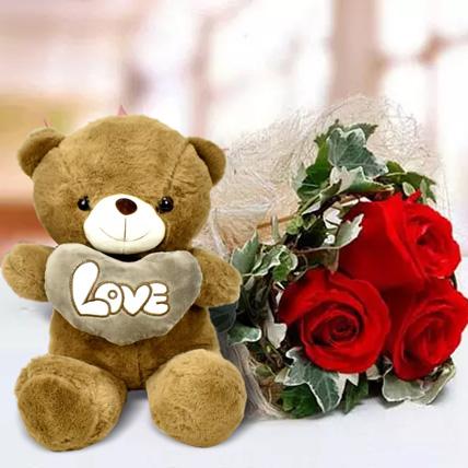 Red rose and Teddy Bear Combo: Birthday Flowers & Teddy Bears