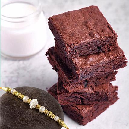 Golden Pearl Rakhi with Chocolate Brownies: Rakhi