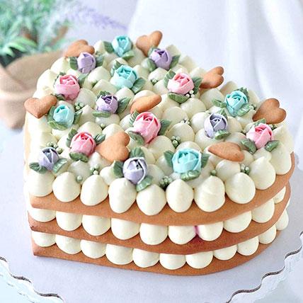 Pretty Flower Heart Cake 1.5Kg: Designer Cakes for Anniversary