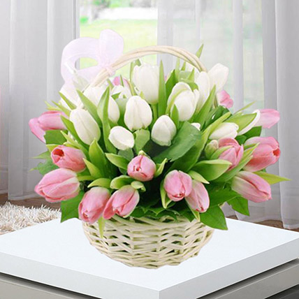 Pink White Tulips Basket: Tulips Bouquet