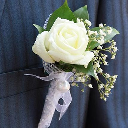 Gorgeous White Rose boutonniere: Wedding Bouquets