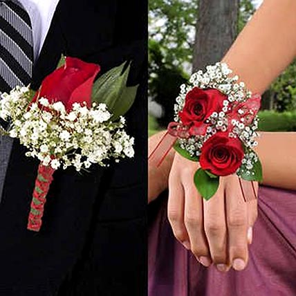 Red Roses boutonniere and Corsage:
