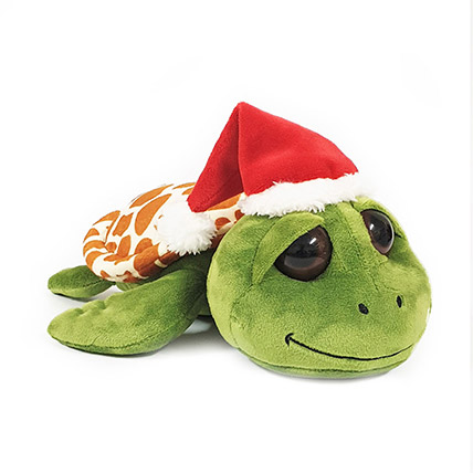 Cute Green Turtle With Santa Hat: Soft Toys