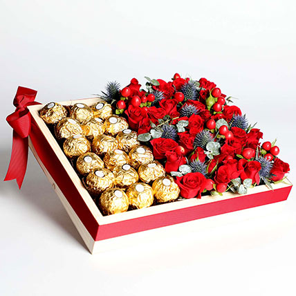 Exotic Roses and Chocolates Arrangement: Chocolates For Anniversary