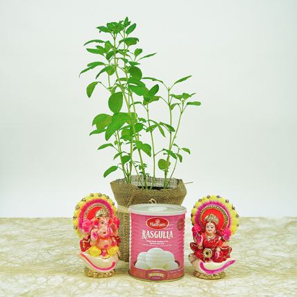 Diwali Gifts In Jute Wrapped Bag and Tulsi: Diwali Gifts