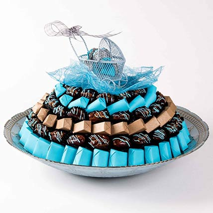 Baby Boy Chocolates and Dates Tray: Newborn Baby Gifts