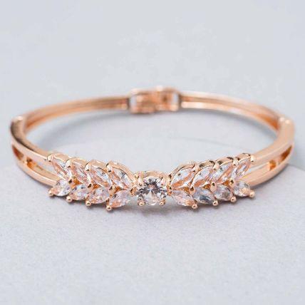 Rose Gold White Enamel Bracelet: