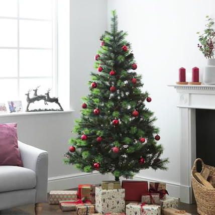 Artificial Xmas Tree with Red Ornaments 180cm: Xmas Trees