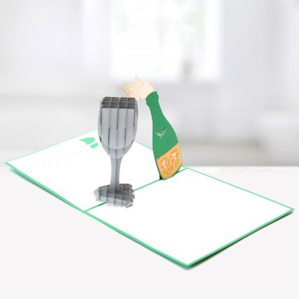 Bottle and Glass 3D Card: 3d Greeting Cards