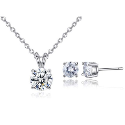 Round crystal necklace and earrings set: Jewellery